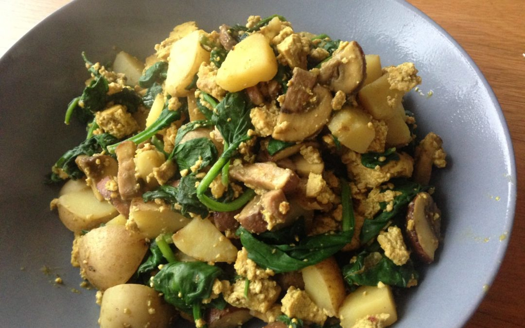 Tofu scramble met aardappels